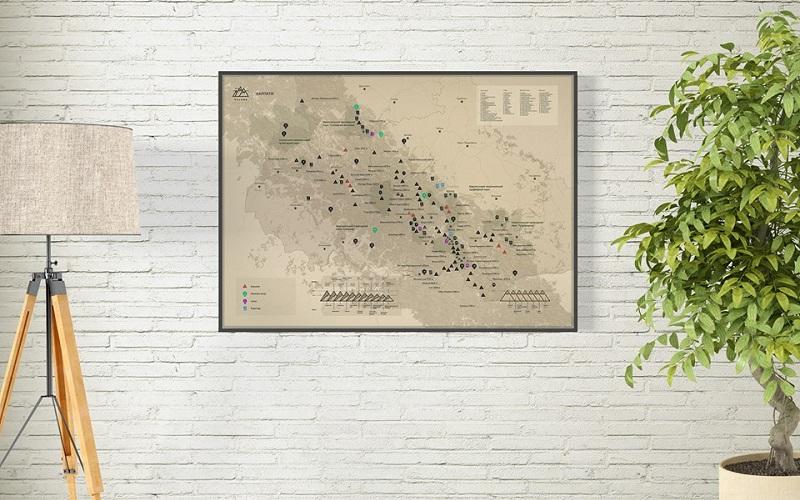 """Карта гірських вершин зі скретч покриттям """"КАРПАТИ"""""""